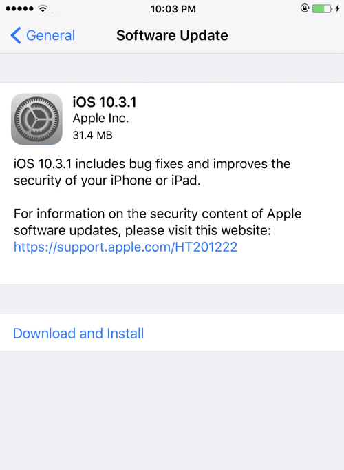 Apple iOS 10.3.1 Direct Download Links