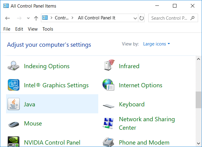 Open Control Panel then click on Java icon