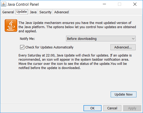 Update Java from Control Panel