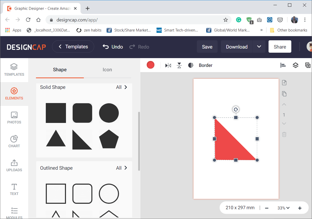 Clicking on a Shape would add it to the workspace and would also add a colour picker