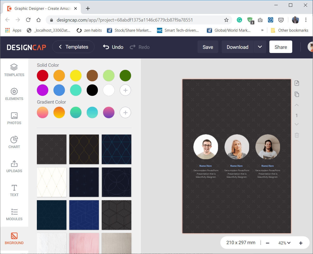 You would get three options to create a background