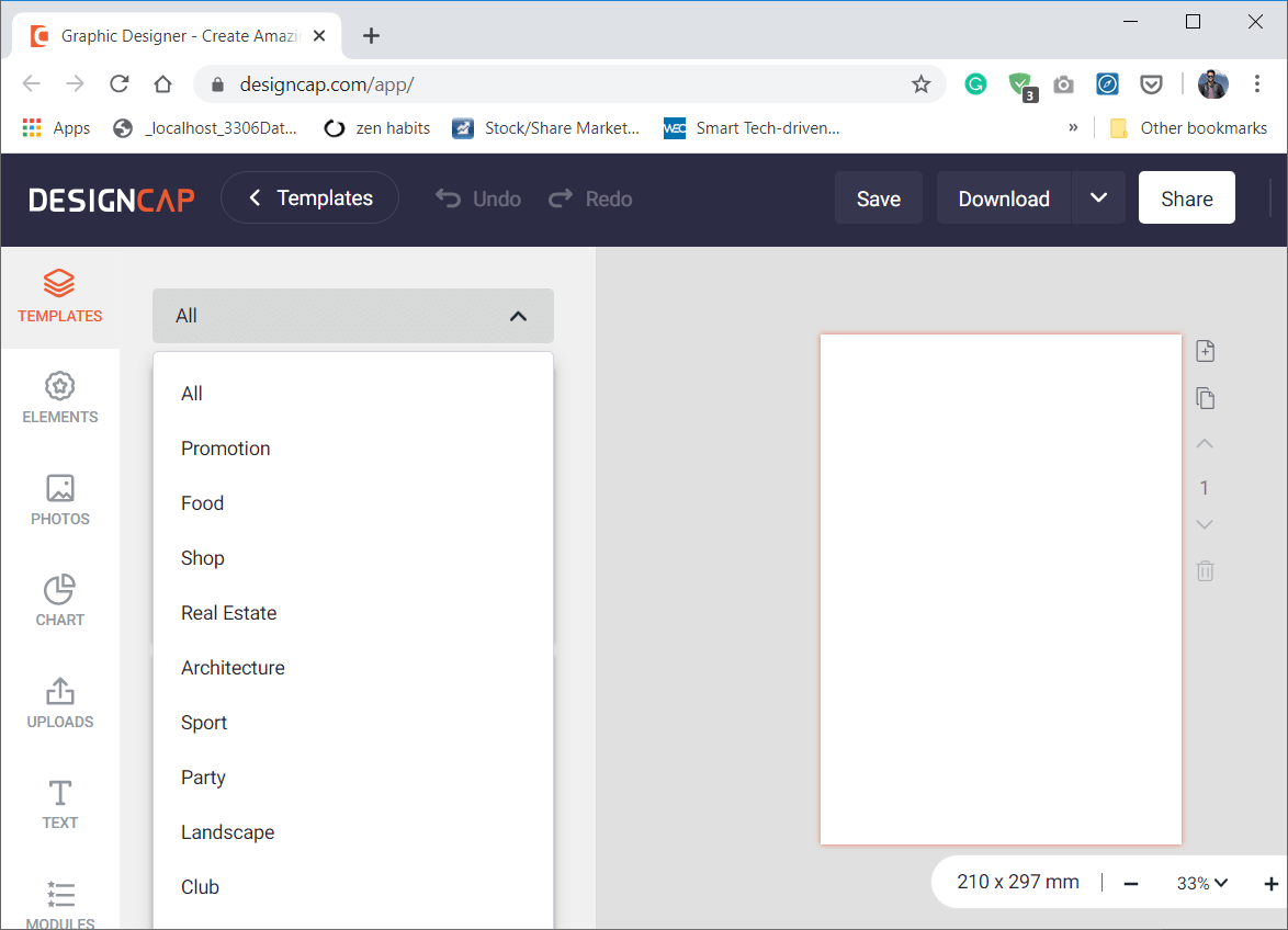 You would have an option to choose from hundreds of templates