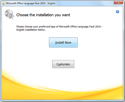ms office language pack 2010
